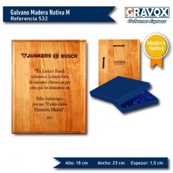 Galvano de Madera Nativa Premio M (Mediano) incluye personalización con grabado láser y caja de presentación