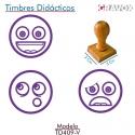 Pack de 3 timbres de madera didácticos con caritas mas tampón Color Violeta