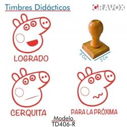 Pack de 3 timbres didácticos caricatura de chanchita color Rojo