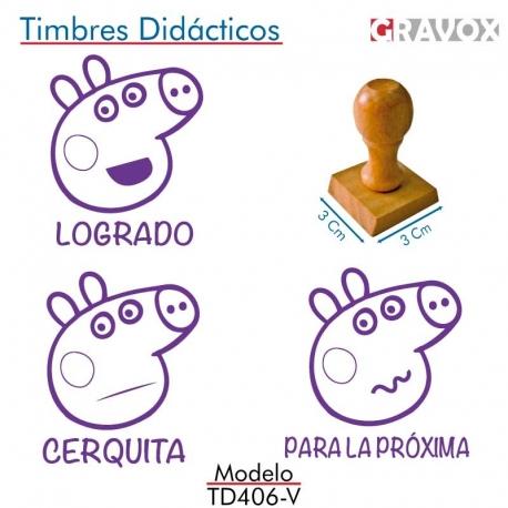 Pack de 3 timbres didácticos caricatura de chanchita color Violeta