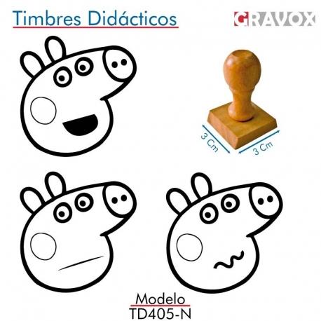 Pack de 3 timbres de madera didácticos caricatura de chanchita Color Negro