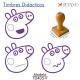 Pack de 3 timbres de madera didácticos caricatura de chanchita Color Violeta