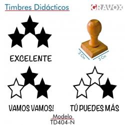 Pack de 3 timbres didácticos de estrellas con texto personalizable Color Negro