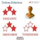 Pack de 3 timbres didácticos de estrellas con texto personalizable Color Rojo