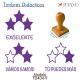 Pack de 3 timbres didácticos de estrellas con texto personalizable Color Violeta