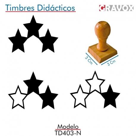 Pack de 3 timbres de madera didáctico con forma de estrellas Color Negro