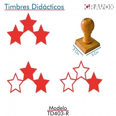 Pack de 3 timbres de madera didáctico con forma de estrellas Color Rojo