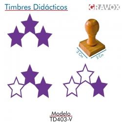 Pack de 3 timbres de madera didáctico con forma de estrellas Color Violeta