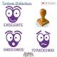 Pack de 3 timbres didácticos con texto personalizable con forma de hormiga Color Violeta