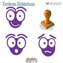 Pack de 3 timbres de madera didácticos en forma de hormiga con entintado Color Violeta