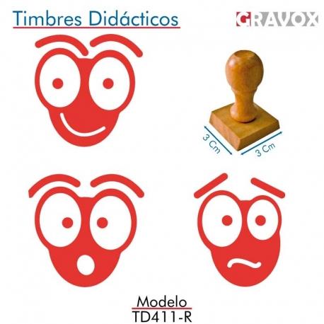Pack de 3 timbres de madera didácticos en forma de hormiga con entintado Color Rojo